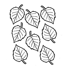 Birch Leaves Fall Coloring Sheets