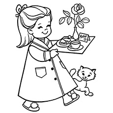Breakfast For Mom Coloring Page