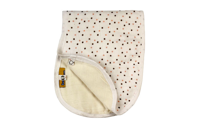BumChum Organic Muslin Bib and Burp Cloth 'Brown Polka 1