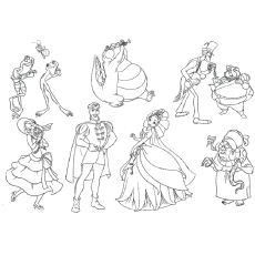 Printable Coloring Page of Princess And The Frog Cast of Series