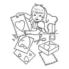 coloring page of child making card for mother - Free Mothers Day Coloring Pages