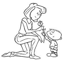 Coloring Sheet of Child Presenting Flower to his Mother