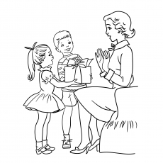 Children Giving Gift To Mom