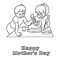 Children Making Cake Coloring Pages