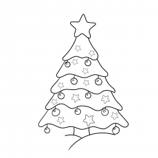 Coloring Pages of Star on Christmas Tree