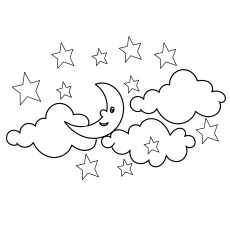 Clouds and Stars during Night to Color