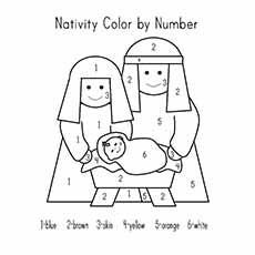 nativity coloring pages color by number
