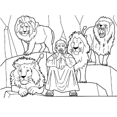 Daniel And The Lions' Den from Bible Stories Picture to Color for Kids