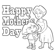 dora and her mother on mothers day dora and her mother puppy presenting flower to mother coloring sheet