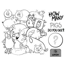 Education Counting Game of Pigs Coloring Page