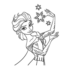 Elsa With Snowflake Coloring Page Free Printable