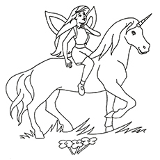 Fairy on Unicorn Picture to Color