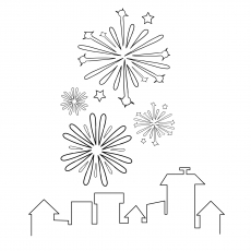 Fireworks in Star Shape Coloring Page