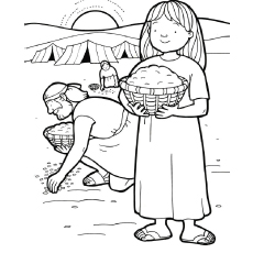 Gathering Manna Coloring Page