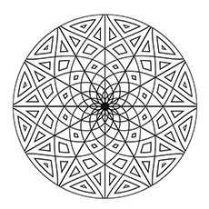 Coloring Pic of Snowflake of Geometric Pattern