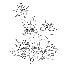 Hare Sitting on Leaves That Falling from Tree Coloring Page