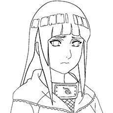 Anime Character Name Hinata Hyuga Coloring Sheet