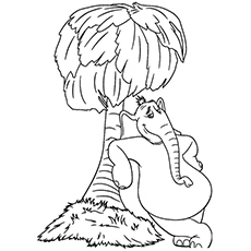 horton the elephant standing beside tree of dr seuss coloring sheet to print - Dr Seuss Coloring Pages