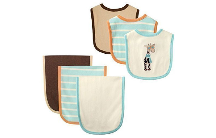 Hudson Baby 6 Piece Bib And Burp Cloth Set, Giraffe 8