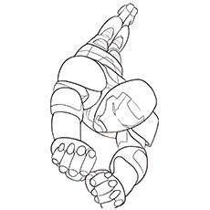 Iron Man Flying Colouring Page