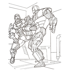 Iron Man In Combat Coloring Page