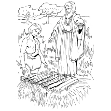 Coloring Sheet of Isaac Sacrifice from the Hebrew Bible