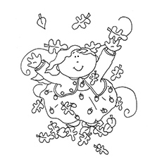 Coloring Sheet of Kid Jumping In Leaves