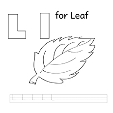 L For Leaf Coloring Pages for kids