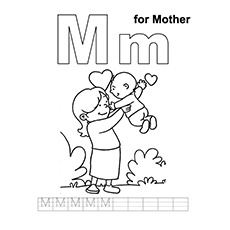 m for mother coloring page - Mothers Day Coloring Pages