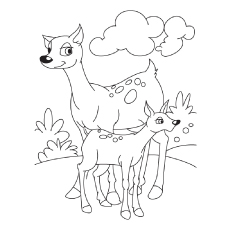 Mama Doe With Fawns Deer on Sunny Day Coloring Page