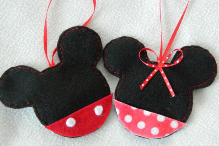Mickey Mouse Felt Christmas Tree Ornaments