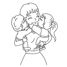Mother And Baby Kissing Coloring Picture