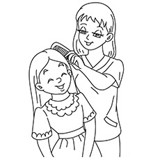 mother and daughter coloring sheet - Mommy Coloring Pages
