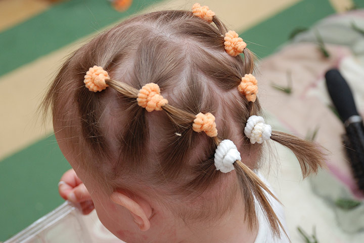 Multiple Ponytails With Decorative Hairbands