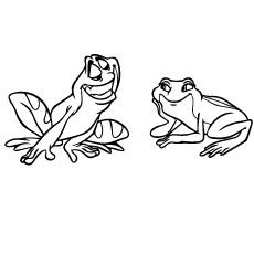 Naveen and Tiana as Frogs Coloring Pages to Print Free