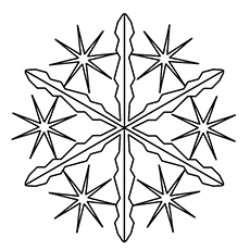 Needle Snowflake Design to Color for Kids