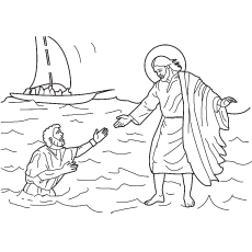 Picture Of Jesus Walking On Water Coloring Page