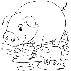 Pig And Piglet Printable To Color Free