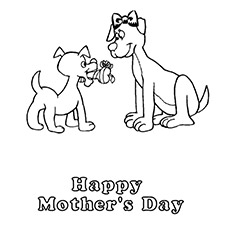 Puppy Presenting Flower To Mother Coloring Sheet