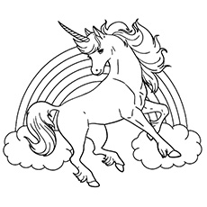 Rainbow Unicorn Free Printable to Color