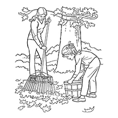 Kids Raking Leaves Coloring page Printable Free