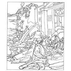 Iron Man Rescuing The City Coloring Pages Printable