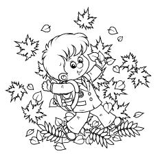 Schoolboy having Fun with Autumn leaves Coloring Sheet to Print