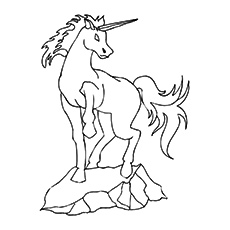Shadhavar Unicorn Standing on Rock Coloring Pages