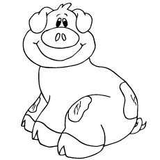 Coloring Sheet of Smiling Pig Print