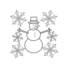 Snowman And Snowflake Coloring Sheet