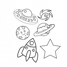 Coloring Sheet Of Space And Star