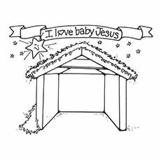 nativity coloring pages silent night stable - Nativity Coloring Pages For Kids