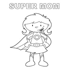 super mom pic to color - Mommy Coloring Pages