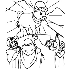 Coloring Page Of The Golden Calf From Bible Story